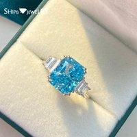 Shipei 100% 925 Sterling Silver Mar Blue Criado Moissanite Diamantes Gemstone Casamento Anel de Noivado para Mulheres Fine Jewelry J1208