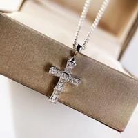 Luxuriöse Qualität Kreuzform mit Diamant Anhänger Halskette für Frauen Hochzeit Schmuck Geschenk Freies Verschiffen PS8117