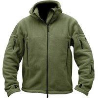 Outono homens jaqueta de lã táticos casaco macio jaqueta com capuz homens inverno multi bolso zipper quente polar exército casaco outwear