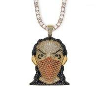 Creative Masked Girl Head Catena a catena Collana Personalizzata Rock Zircon Charm Collar Brass Blass Gioielli Hiphop Bling Rock1