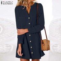 Casual Kleider plus Größe Zanzea Elegante Frauen Kleid 2021 Plissee Mini Vestidos Herbst Langarm V-Ausschnitt Single Breasted Robe Femme 5XL
