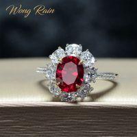 Wong Yağmur Bağbozumu 100% 925 Ayar Gümüş Oluşturulan Mozanit Yakut Taş Düğün Nişan Yüzüğü Güzel Takı Hediye Toptan Y1128