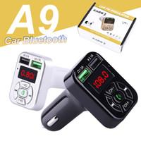 A9 FM 블루투스 자동차 충전기 어댑터 듀얼 USB FM 송신기 어댑터 MP3 플레이어 SAMSUNG Universal Phone 용 TF 카드 지원