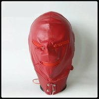 Latest Pu Leather Bondage Hood Headgear With Zipper Eyepatch Face Mask Dog Adult BDSM Product Bed Games Sex Toy Red Y201118