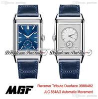 MGF Reverso Tribute Duoface 398258J JLC 854A / 2 Otomatik Erkek İzle Çelik Kılıf Mavi Beyaz Kadran Mavi Deri Kayışı PTJL Yeni Puretime 5A01D4