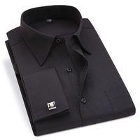 Erkek Elbiseleri Gömlek Erkekler Fransız Kol Düğmeleri Gömlek Ziyafet Smokin Çizgili Katı Uzun Kollu Rahat Erkek Marka Giyim Fransa Manşet