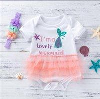 Menina bebê macacão sereia infantil meninas jumpsuits headband 2pcs sets lace toddler escalada roupas verão roupas bebê 2 desenhos BTW3982