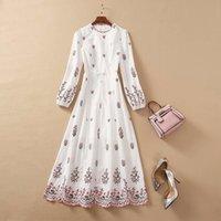 Artı Boyutu Elbise 2020 Sonbahar Bir Çizgi Uzun Kollu Elbise Balo Moda Ekip Boyun Nakış Flora Baskı Marka Aynı Stil Yimi