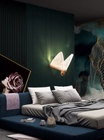 Nordic спальня прицела стены светильники современные творческие живущая комната светодиодный фон стены светильника проходов коридор искусства бабочки лампы