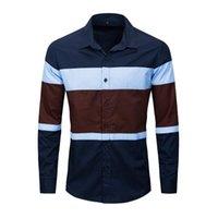2020 Da Jauna New Fashion Striscia Abbinata Colors Color Maglietta da uomo Slim Fit Vestito Camicia per uomo Manica lunga Pulsante formale