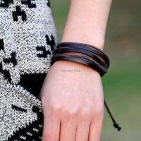 Pulseiras de couro multicamadas ajustam braceletes trançado pulseira de punhos homens braceletes irão e arenoso moda jóias
