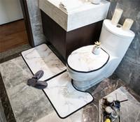 패션 프린트 화장실 시트 커버 클래식 문자 홈 욕실 카펫 비 슬립 욕실 매트 러그 3 개 세트