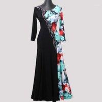 Vestido de salón floral hecho a medida Waltz Vestido de baile moderno Rhinestones Ropa de baile de baile de salón de baile estándar Competición de tango1