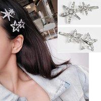 Cristal Rhinestone Cabelo Clipe Brilhante Estrela Snowflake Forma Hairpin Acessórios Cabelo Acessórios Bonito Menina Lateral Do Lateral