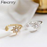 Кластерные кольца Foxanry 925 стерлингового серебра сверкающий Zircon для женщин творческих модных цветов солнца Элегантные свадебные невесты Gifts1