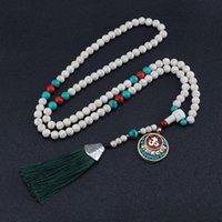 Новый Silk Tassel Буддийская молитва Белая сосновая бусина ожерелье Boho Nepal длинный свитер цепи винтажного тибетского подвеска этническое ожерелье