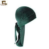 15 Renkler Lüks Unisex Kadife Durags Bandana Türban Şapka Korsan Kapaklar Peruk Korsan Şapka Saç Aksesuarları GD1070