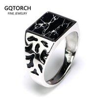 925 Sterling prata vintage homens anéis ajustáveis quadrado em forma de pedra preta flor padrão design masculino peru jóias 201006
