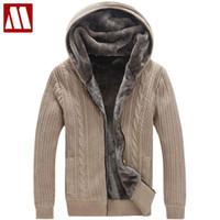 Мужские свитера зима теплые густые мужские / случайные искусственные меховые фундамент вязаный свитер пальто мужчин дизайнер с капюшоном кардиганов большой размер до 5XL D447