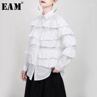 [EAM] Женщины белые латерлеры оборманы разбитые блузка Новый отворот с длинным рукавом Свободная подходящая рубашка мода прилив весна осень 2020 1N2091