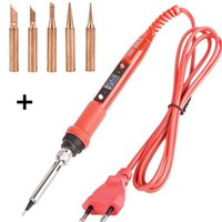 Hand & Power Tool Accessories 220V 80W Digital Display EU Adjustable Temperature Electric Soldering Iron With 6 Welding Tip
