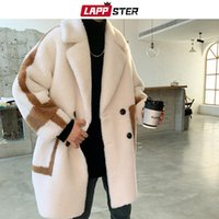 Homens para baixo parkas lappster homens coreanos patchwork casaco de pele 2021 japonês streetwear homens inverno quente casacos falsos macho harajuku moda mais