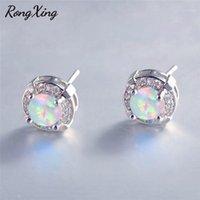 Rongxing простая мода круглый синий / белый пожарный опал серьги для женщин белое золото заполнено свадебные серьги Ear07871