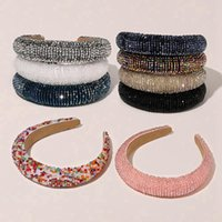 Haarbänder kristall glänzende haarband volle gepolsterte diamant bands für frauen dame luxus stirnband haarreih mode haarschmuck rra2638