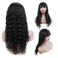 Calidad Brasileño Pelucas para el cabello humano con flequillo Máquina llena Hecho sin encaje Pelucas para el cabello humano de encaje Worla de agua brasileña Peluca de pelo 10-28 pulgadas