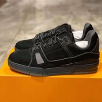 Tasarımcı Erkekler Eğitmen Sneaker Üst Süet Dolaşık Deri Koşucu Eğitmen Baskı Kabartmalı Tuzak Ayakkabı Kauçuk Platformu Dantel-Up Ayakkabı 268