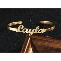 Nombre personalizado Brazaletes Brazaletes para mujeres Hombres Cita personalizada Letra Joyería Acero inoxidable Rosa Oro de oro Clasifique las pulseras BFF 201211