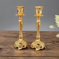 1 Çift Altın / Gümüş Renk Düğün Hediyesi Metal Mumluk Şamdan Ev Dekorasyon Şamdan Parti Süsler