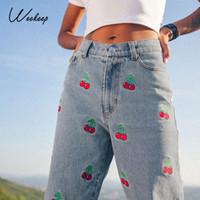 Weekeep Cereja Moodwork Moda Jeans Do Vintage 2020 Mulheres Alto Taille Streetwear Carga Jean Aleatório Slender Mulher Denim Potlood Broek