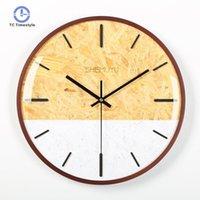 ساعة الحائط الحديثة تصميم المنزل الديكور اكسسوارات ساعات خشبية غرفة المعيشة ديكور دائرية واحدة وجه الجدار ساعة