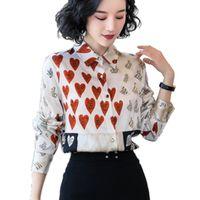 [EWQ] Autumn Hey Heavy Seta Donne a maniche lunghe moda stile occidentale single-peste shoersed shirt stampato signore 201029