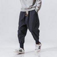 2021 novo loja de sinicismo japonês casual algodão linho calças macho harém homens tornozelo bordado bordado calça chinês tradicional close 4oh7