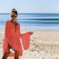 2020 여름 단단한 긴 소매 비키니 커버 Sarong 드레스 수영복 Kaftan Lace Crochet Beach Wear