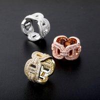 Anelli di diamanti da uomo Iced Out Bling Bling Cubic Zirconia Gioielli 18 carati Placcato oro Cuba Catena anello Brand Design Hip Hop Jewellery