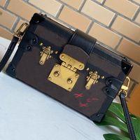 Clássico mini tronco bolsa de lona couro mulheres bolsa bolsa velha flor crossbody saco petite malle bolsa de ombro magnética caixa de hasp sacos embreagem