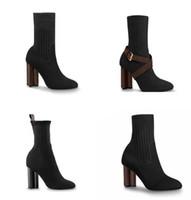 Mujeres Diseñador Botas Silueta Tobillo Botas Negro Estiramiento Alto Tacón alto Socket Boots y Sock Skin Sneaker Boot Boot Women Shoes