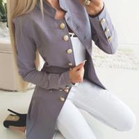 Automne hiver costume blazer femme décontractée simple poitrine poche femmes vestes longues élégantes manches longues blazer uterwear 2019 nouveau x1214
