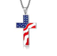 Kostenloser Glaube Flagge Kreuz Anhänger Halskette USA Amerikanische Flagge und Amerikanische Flagge Pentagram Halskette Glory Halskette Geschenk