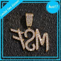 A-Z Nome Personalizado Escova Fonte Letras Personalizar Colar Corrente Ouro Prata Bling Zircônia Homens Hip Hop Pingente Jóias