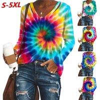 Artı Boyutu Kadın Tasarımcı Giyim Kravat Boyası Baskılı Uzun kollu V Yaka Sweatershirt Kazak Bluz Tişört Sonbahar Kış E120503 Tops