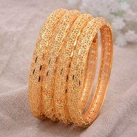 24k 4pcs / lot Dubaï Inde Ethiopian Jaune Jaune Solide Gold Lovely Bracelets pour Femmes Girls Party Bijoux BanglesBracePelet Cadeaux Y1126