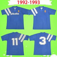 Ретро Реал Зарагоза Футбол Джерси 1992 1993 Brehme # 3 de Jogo Raríssima Винтаж CamiSeta de Futbol 92 93 Blue Classic Футбол-футболка Испания