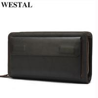 Westal мужской кошелек из натуральной кожи кошельки двойной молнии с телефоном карманный мужской кожаный кошелек для денежных сумки мужские пакеты сцепления