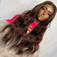 Pervian souligne le chocolat brun de soie de soie ondulée dentelle de dentelle frontale perruques de cheveux humains avec des cheveux bébé prépliqués 360 bandeau frontale perruque