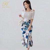 Han Kraliçe Kadın Yaz İş Giyim 2 Parça Kapalı Omuz Bluzlar Baskı Kılıf Etek Rahat Meslek Seti1 Iki Parçalı Elbise