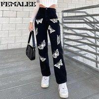 Женские брюки CAPRIS FEMALEE 90S E-Girl Gothic Высокие талии прямые брюки Женщины Y2K Бабочка Принт Harajuku Baggy Joggers Streetwood1